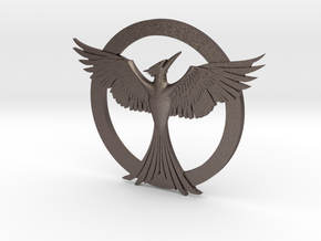 Mockingjay Pendant in Polished Bronzed Silver Steel