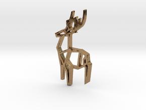 Origami Stag Pendant in Natural Brass: Medium