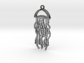 Jellyfish Charm in Fine Detail Polished Silver