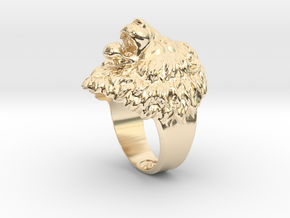 Aggressive Lion Ring in 14k Gold Plated Brass: 11.5 / 65.25