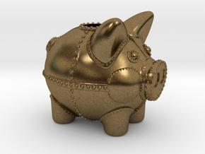Steampunk Piggy Bank 2 Inch Tall in Natural Bronze