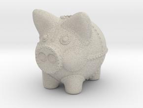 Steampunk Piggy Bank 6 inch tall in Natural Sandstone