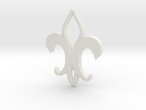 Fleur De Lis Bottle Opener in White Natural Versatile Plastic