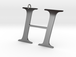 H in Fine Detail Polished Silver