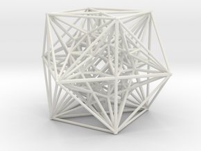 Inverted Cuboctahedra, 1.5 mm wires in White Natural Versatile Plastic
