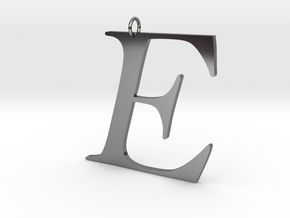 E in Fine Detail Polished Silver