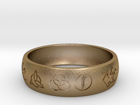 Size 7 FOUR SYMBOLS A  in Polished Gold Steel