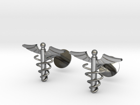 Doctor's Caduceus Cufflinks in Fine Detail Polished Silver