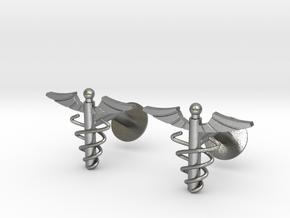 Doctor's Caduceus Cufflinks in Natural Silver