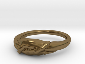 Rome Handshake Ring Size(US)-9 (18.89 MM) in Polished Bronze