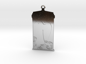 TARDIS Pendant with Weeping Angel in Fine Detail Polished Silver