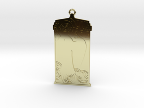 TARDIS Pendant with Weeping Angel in 18k Gold Plated Brass