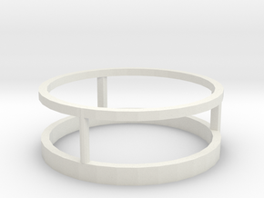 Three way ring 19mm in White Natural Versatile Plastic