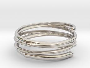 Branch ring(Japan 10,USA 5.5,Britain K) in Rhodium Plated Brass