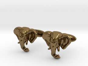 Elephant Cufflinks in Polished Bronze