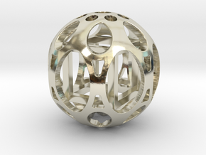 Sphere housing a mobile cube in 14k White Gold