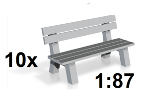 1:87 H0 - 10x Parkbank / Park Bench - Modelleisenb in Smooth Fine Detail Plastic