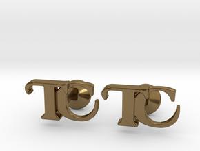 Monogram Cufflinks TC in Polished Bronze