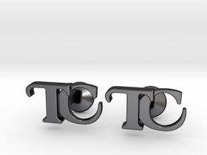 Monogram Cufflinks TC in Polished and Bronzed Black Steel