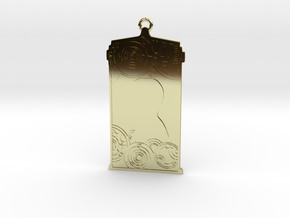 TARDIS Pendant with Nine in 18k Gold Plated Brass