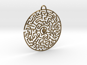 Circular Labyrinth Pendant in Polished Bronze
