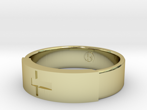 Ring with jesus in 18k Gold Plated Brass