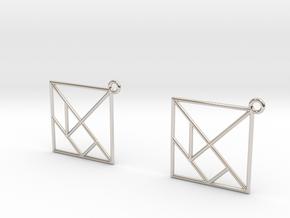 Tangram Earrings in Rhodium Plated Brass
