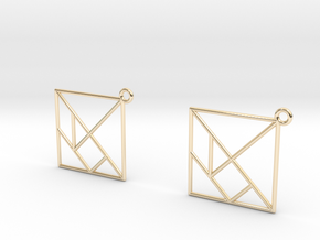 Tangram Earrings in 14K Yellow Gold