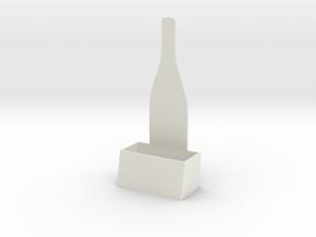 Wine Bottle Business Card Holder (small) in White Natural Versatile Plastic