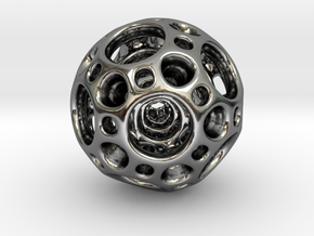 Dodecahedron Nested Sphere ( Large ) in Fine Detail Polished Silver