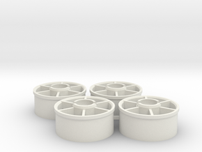 Mini-z Marka Wheelset +1.5mm in White Natural Versatile Plastic