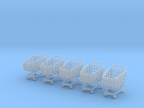 5 X Miniature Shopping Trolleys in Smooth Fine Detail Plastic