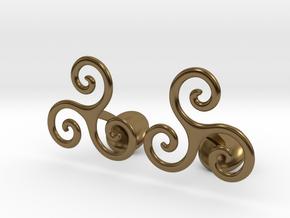 Celtic Spiral Cufflinks in Polished Bronze