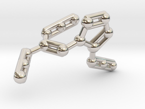 Azidoazide Azide Molecule Necklace in Rhodium Plated Brass