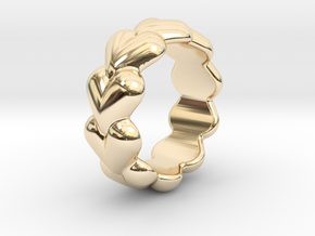Heart Ring 23 - Italian Size 23 in 14k Gold Plated Brass