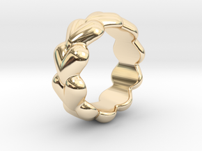 Heart Ring 26 - Italian Size 26 in 14k Gold Plated Brass
