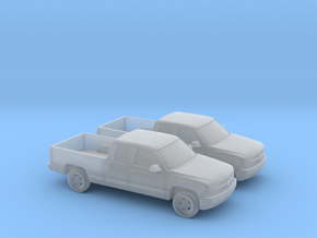 1/160 2X 2000 Chevrolet Silverado Extended Cab in Smooth Fine Detail Plastic