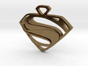Superman Man Of Steel Pendant in Polished Bronze