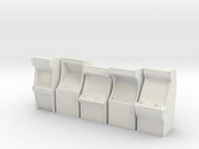 5 Miniature Arcade Machines  in White Natural Versatile Plastic