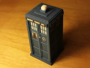 Pixelated Tardis (Round Logo Design) in Full Color Sandstone