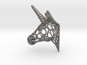 Unicorn Trophy Voronoi (150mm) in Polished Nickel Steel