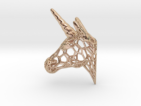 Unicorn Trophy Voronoi (100mm) in 14k Rose Gold Plated Brass