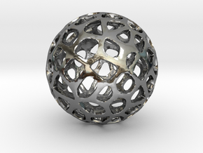 Voronoi Sphere in Fine Detail Polished Silver