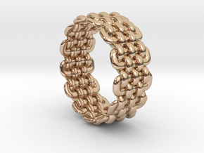 Wicker Pattern Ring Size 8 in 14k Rose Gold Plated Brass