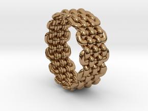 Wicker Pattern Ring Size 9 in Polished Brass