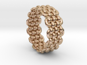 Wicker Pattern Ring Size 9 in 14k Rose Gold