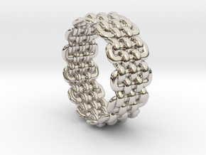 Wicker Pattern Ring Size 9 in Rhodium Plated Brass
