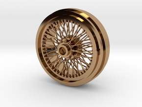 1/8 Wire Wheel Rear, with 72 spokes in Polished Brass