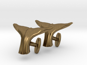 Whale tail cufflinks in Natural Bronze