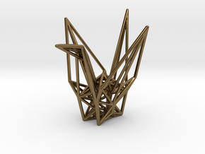 Origami Crane Wireframe in Polished Bronze